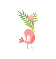 cute bird holding bouquet of pink tulip flowers in vector image