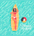 cute young girl dressed in swimwear lying on vector image