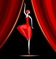 dancing ballerina in red vector image vector image