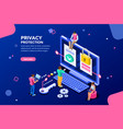 data protection banner for website vector image vector image