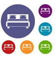 double bed icons set vector image vector image