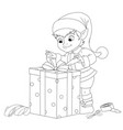 elf decorates gift box with ribbon coloring book vector image