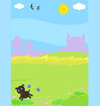 fantasy castle with puppy background vector image vector image