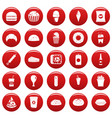 fast food icons set vetor red vector image
