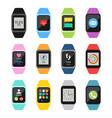 fitness watches and trackers set vector image vector image