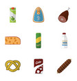 flat icon meal set of meat smoked sausage fizzy vector image vector image