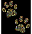 floral animal paw print on black background vector image vector image