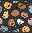 Funny halloween seamless pattern with pumpkins