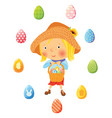 girl with basket full of eggs for easter vector image vector image
