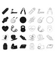 gym and training blackoutline icons in set vector image