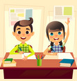 happy children at school desk kids at school in vector image