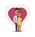 happy couple lover inside heart design vector image vector image