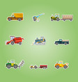 icons set with agricultural machinery vector image vector image