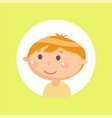 kid glossy face on yellow little person vector image vector image
