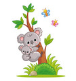 koala with a cub on its back climbs a tree vector image vector image