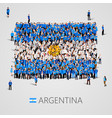 large group of people in the argentina flag shape vector image vector image