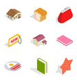 lovely house icons set isometric style vector image vector image