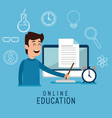 man character with education on line icons vector image