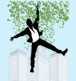 man in rain of money vector image vector image