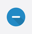 minus Flat Blue Simple Icon with long shadow vector image