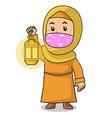 muslim girl use orange shirt and hijab put vector image