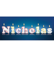 NICHOLAS written with burning candles vector image