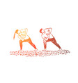 people in sportive clothes working out together vector image