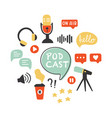 podcast icons set podcasting symbols collection vector image