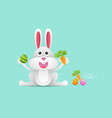 rabbit or bunny with easter egg and carrot vector image