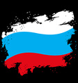 Russian flag grunge style on black background vector image vector image