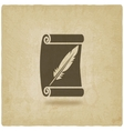 scroll and feather writing symbol old background vector image vector image