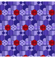 Seamless pattern patchwork purple fabrics hexagon vector image