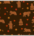 seamless pattern with brown bears and autumn vector image vector image