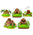 set mountain island on white background vector image vector image