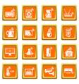 smart home icons set orange square vector image vector image