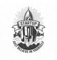startup retro logo - rocket launch in sky vector image vector image