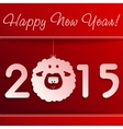Symbol of New Years lamb on red with a frame vector image vector image