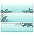 three banner templates with leaves on blue vector image vector image