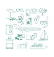 Tourism line art icon set vector image