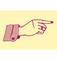 Vintage retro female hand pointing finger vector image vector image