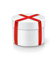 white round box isolated with red ribbon vector image vector image