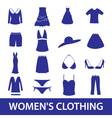 womens clothing icon set eps10 vector image