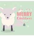 Merry Christmas postcard with cute polar fox vector image