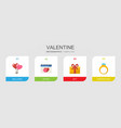 4 valentine flat icons set isolated on infographic vector image vector image