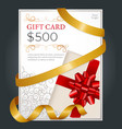 500 dollars gift card certificate on presents vector image vector image