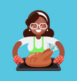 afro american mother woman with fried chicken vector image vector image