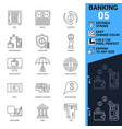 banking icons set thin line vector image