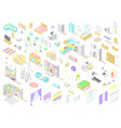 big set of low poly isometric furniture and vector image vector image