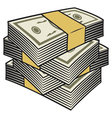 Big stack of money vector image vector image