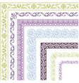border lines ornamental vinage set with corner vector image vector image